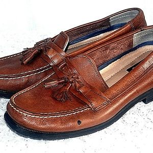 Bass Brown Leather Slip on Loafers Cushion Sole